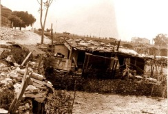Chabola slum shacks in riverbed 1940's